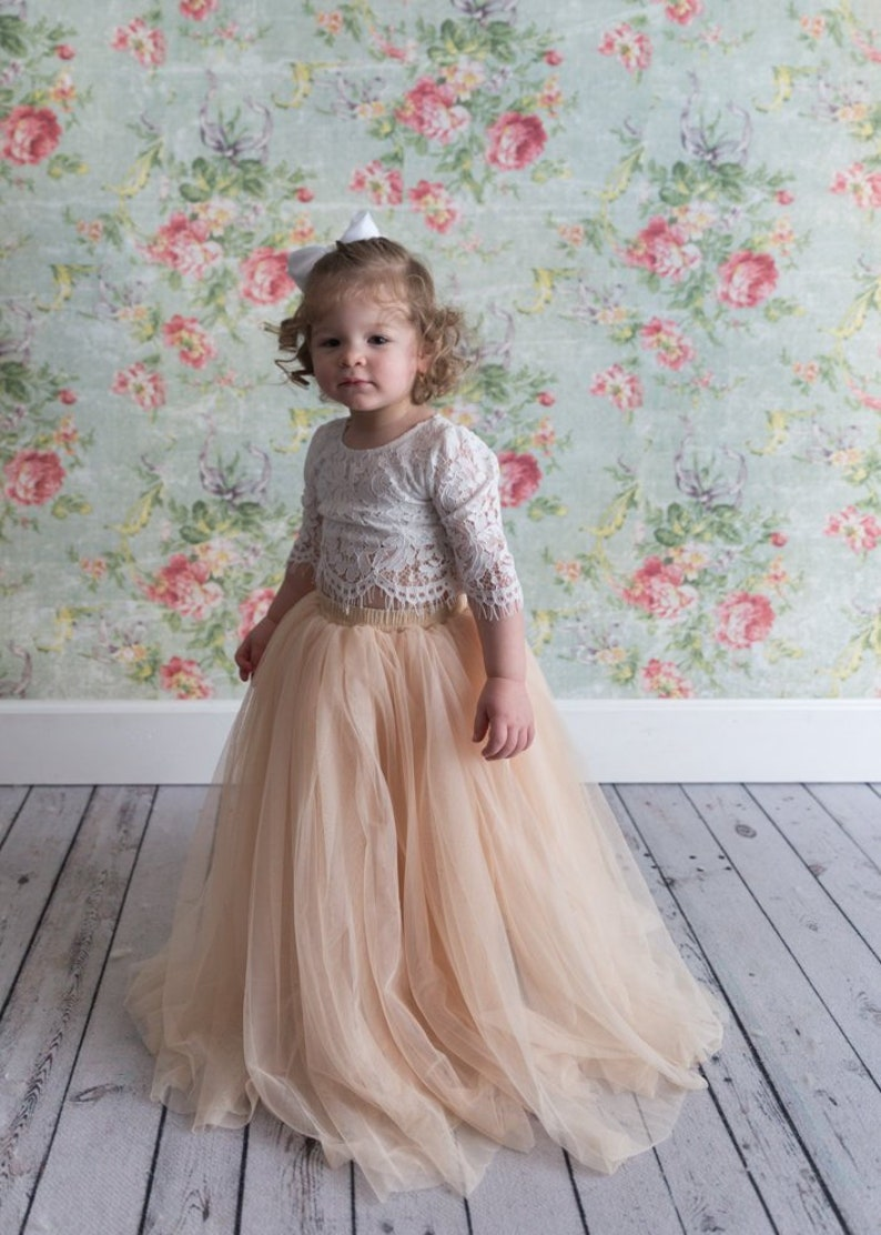2995603078 Champagne Tulle Two Piece Tutu Skirt White Lace Flower Girl | Etsy