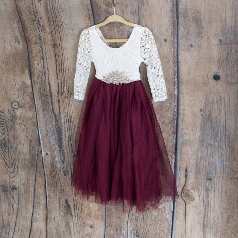 00e6fbb8bc97 White Lace Flower Girl Dress Burgundy Maroon Wine Tulle Long