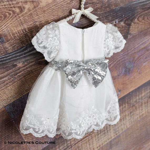 67bdab6379 White Dress Infant Toddler Flower Girl Silver Baby Dress