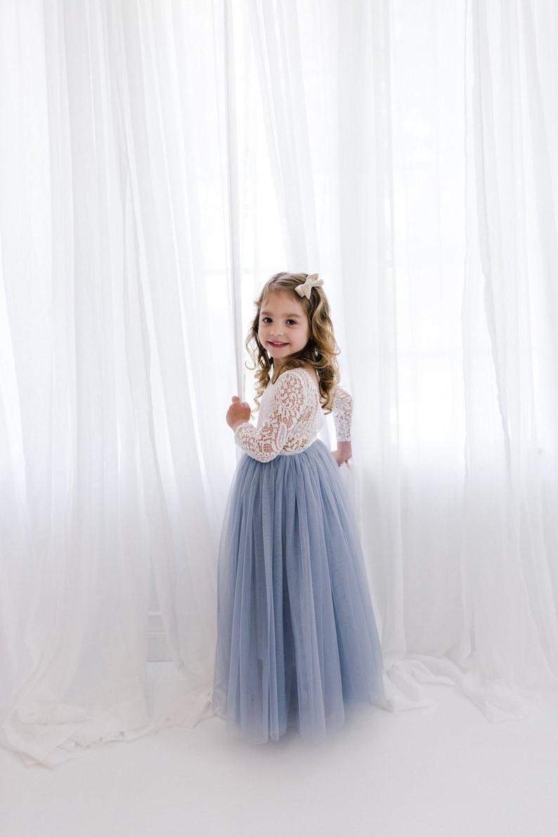 White Lace Flower Girl Dress Gray Tulle Long Sleeve Wedding image 0