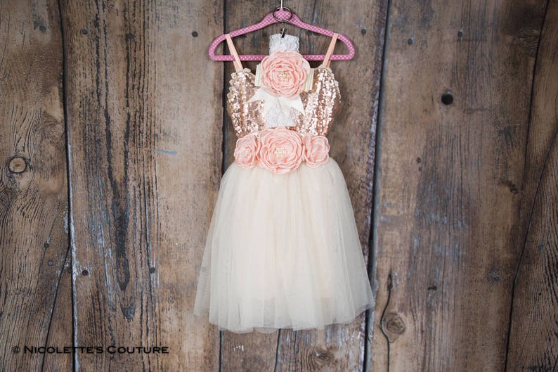 4a13730eaa3 Rose Gold Blush Flower Girl Dress Ivory Tulle Infant Toddler