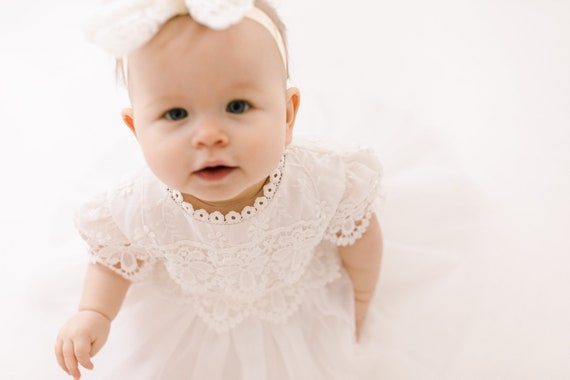 Christening with bonnet Smocked Dress Baby Newborn Girl Toodler Embroidered Sale until 20.07 Baptism Size 1 2 White Cotton