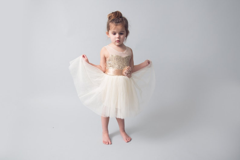 be141ee01 Ivory Flower Girl Dress Gold sequin dress Tulle Gold | Etsy