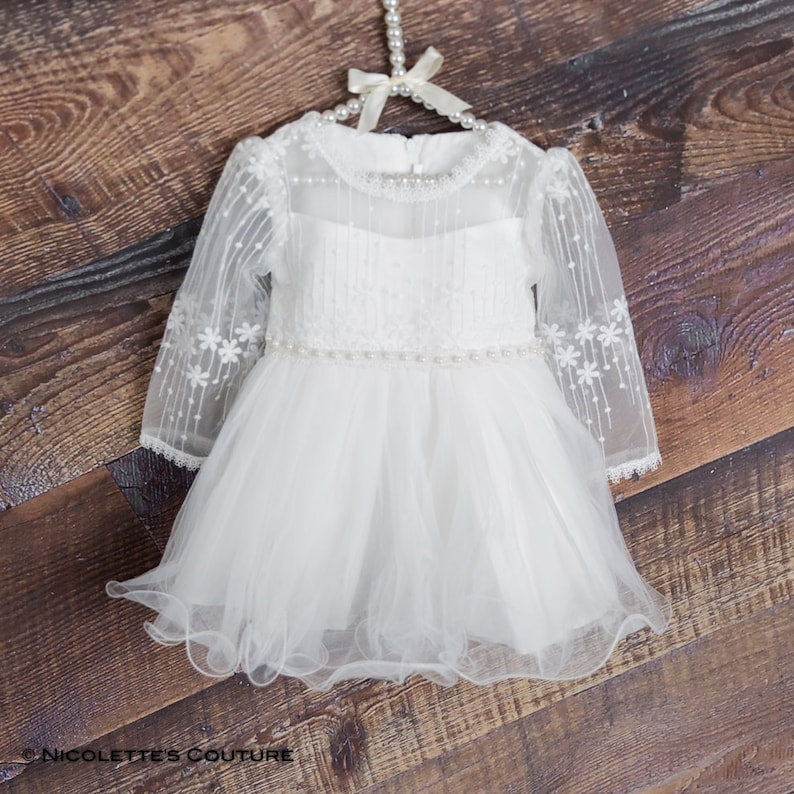 3551f72e62560 Lace Christening Baby Dress White Baptism Gown Infant Long | Etsy