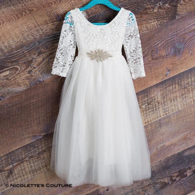 539afdc10 White Lace Flower Girl Dress Tulle Long Sleeve Wedding dress | Etsy