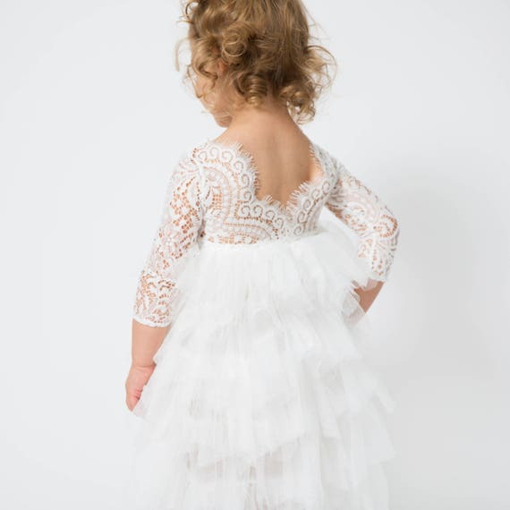 ea35592247f Lace Flower Girl Dress White Tulle Long Sleeve Wedding dress