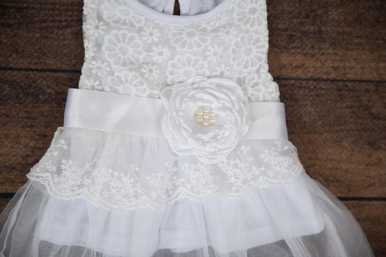 Newborn Cream Lace Baby Dress White Infant Dress Newborn Tulle Flower Girl Dress 24 months Boho Chic 3 months Baptism Christening
