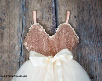Rose Gold Sequin Flower Girl Dress, Simple Girls Tulle Dresses, Rose Quartz, Birthday Dress
