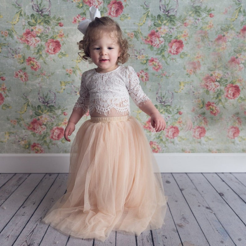 0c305beb29 Bohemian Champagne Tulle Two Piece Tutu Skirt White Lace | Etsy