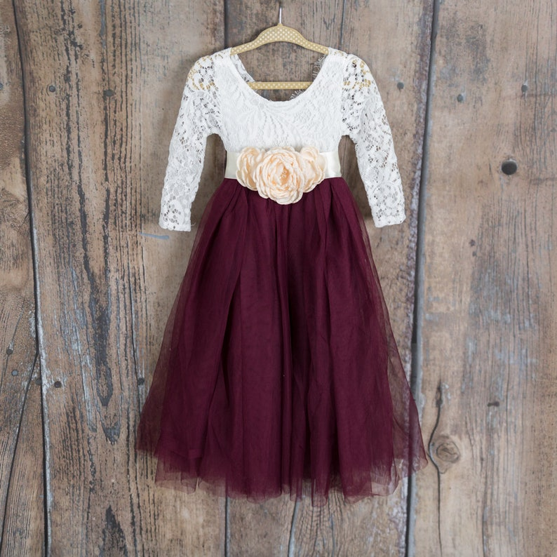 eff799516321 White Lace Flower Girl Dress Wine Burgundy Maroon Long Sleeve
