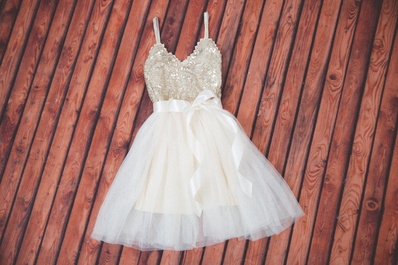 07f62924b63 Ivory Tulle Flower Girl Dress Rustic Gold Sequin Infant
