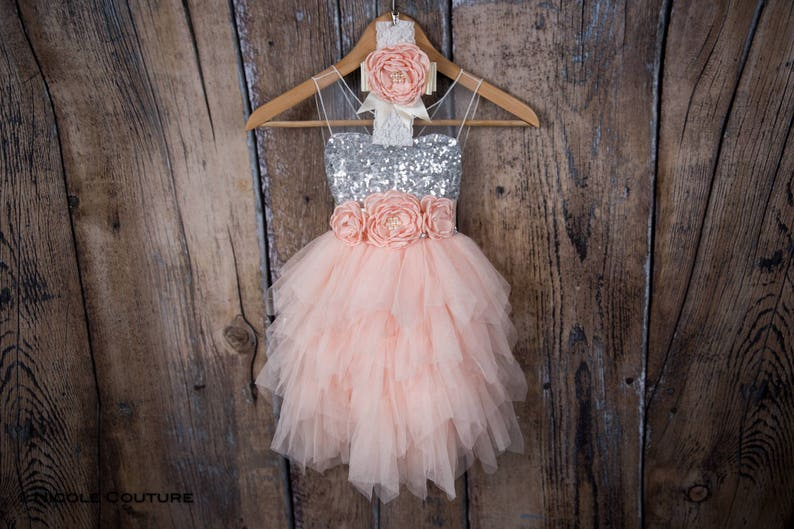 d549fff614b Silver Sequin Flower Girl Dress Blush Pink Tulle Wedding