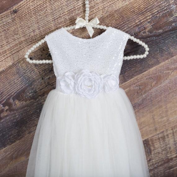 Elegant White Flower Girl Dress /& Necklace Communion Confirmation Girls Dress