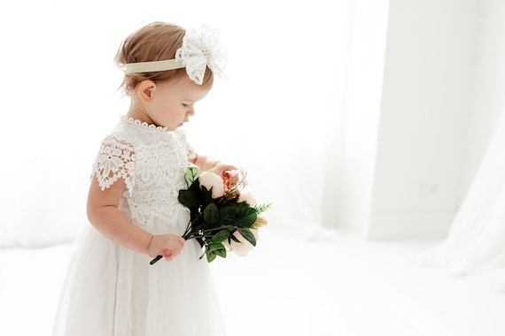 Take Home Outfit Baby Baptism Dress White Lace Infant Christening Gown Long Sleeve Newborn Tulle Flower Girl Boho Chic Blessing