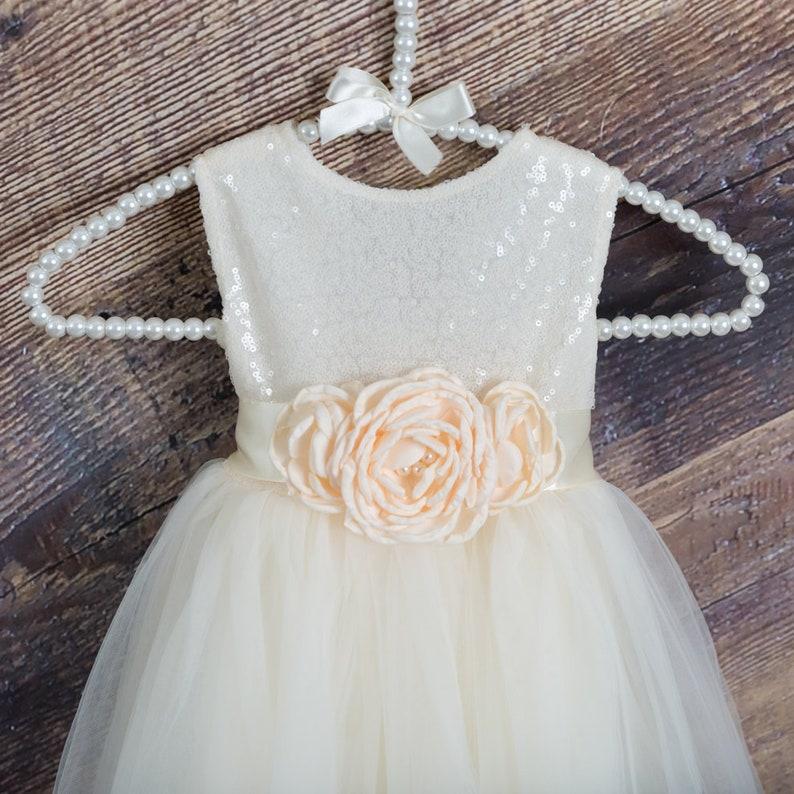 5d3e3c575a6 Ivory Flower Girl Dress Cream Sequin Boho Chic Ball Gown