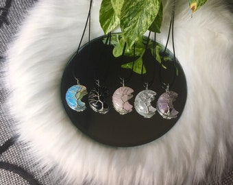 Wire Wrapped Crescent Moon Tree Of Life Necklace (Your Choice)