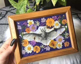 Framed 'Night Bat' Flower Botanical Wall Art Decor