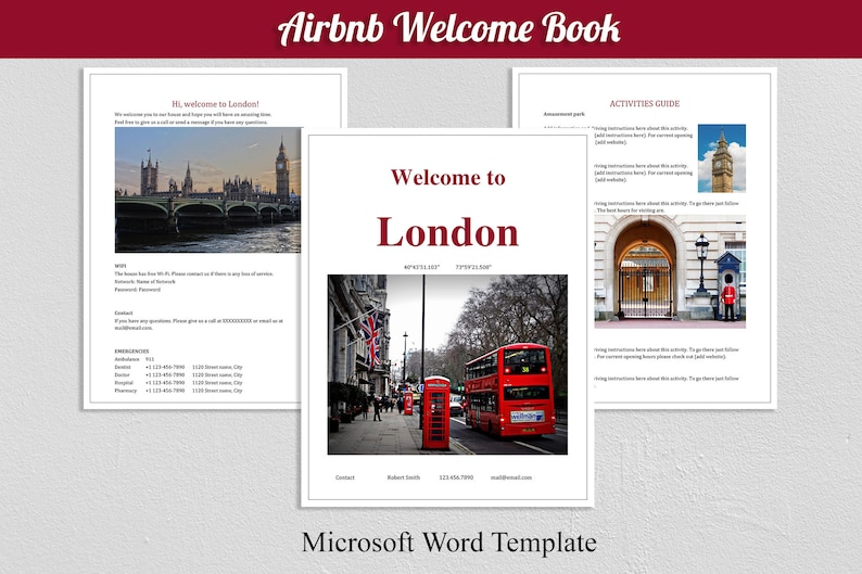 Airbnb Welcome Book London Guest Book Template Guest Rental Welcomebook Guestbook Printables Airbnb Host Guide