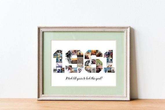 Digital download Custom number 60 birthday Born sixty years Gift to grandfather husband 1961 photo collage poster