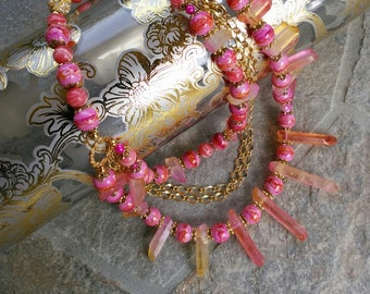 Rose Quartz Statement Necklace, Chunky Necklace, Bib Necklace, Healing Quartz, Colorful Bib, Iris Apfel Wow Factor! Multi-strand Necklace