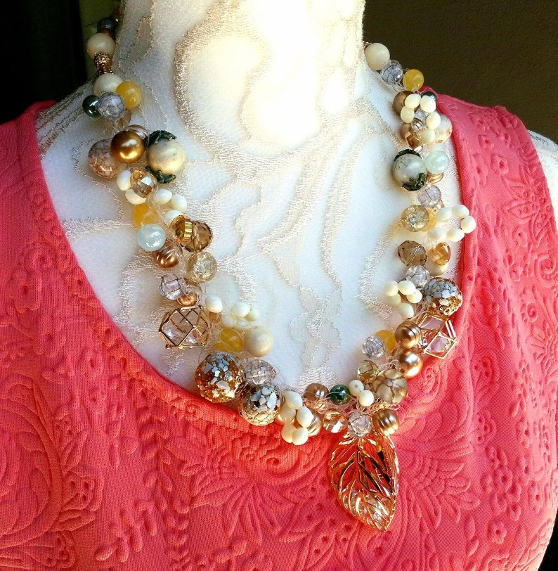 Gold Pearl Cluster Bridal Statement Necklace with Crystal Pendant Unique Crocheted Gift for Her