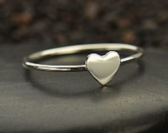 Silver Flat Heart Ring. 925 Silver. Item 116
