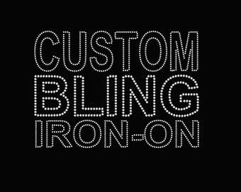 9e0fb04d Custom Rhinestone Transfer Design Setup ; Deposit for custom applique, custom  bling, custom logo, custom decal, iron on patch