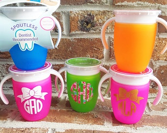 Munchkin 360 sippy cup trainer monogram initials personalized gift spill proof