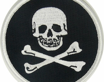 Jolly Roger Crossbones Pirate Skull  embroidery Round Patch Iron/Sew on Free shipping US seller