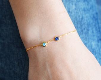 Two Birthstone Bracelet / Sterling Silver Yellow Gold Birthstone Bracelet / Birthstone Bracelet / Personalized Bracelet / Personalized Gift