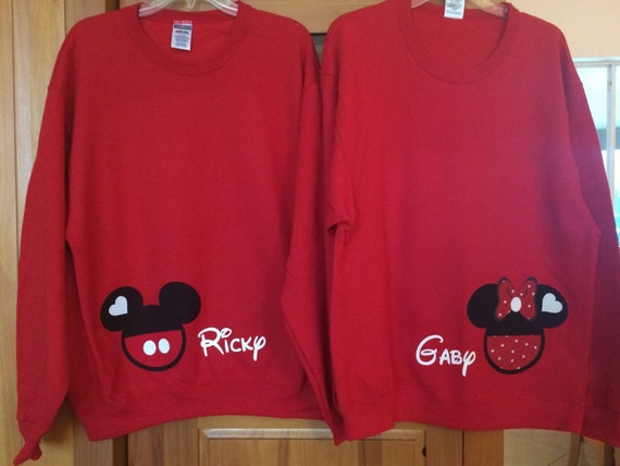 a905b6d66d Mickey Mouse Minnie Mouse Disney Couple 2 Sweatshirts Valentines Day  Wedding Anniversary Honeymoon Personalized Custom