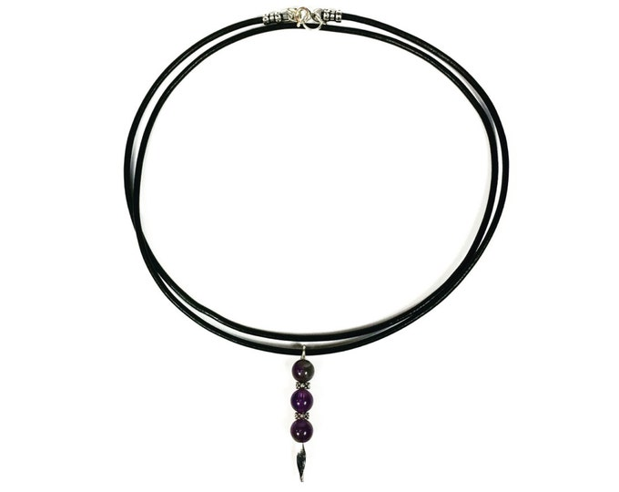 Black Leather Amethyst Choker - Black Greek Leather Choker - Gemstone Choker - Gemstone Jewelry - 90s Fashion - Retro Jewelry - Handmade