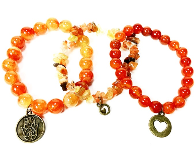 Orange Fire Agate Stackable Gemstone Bracelets - Natural Gemstone Bracelets - Bronze Hamsa Charm Bracelets - Hippie Jewelry - Boho Jewelry