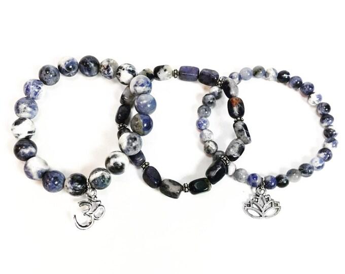 Kyanite Beaded Gemstone Bracelets - Stackable Charm Bracelets - Stackable Gemstone Bracelets - Hippie Jewelry - Boho Jewelry - Minimalist