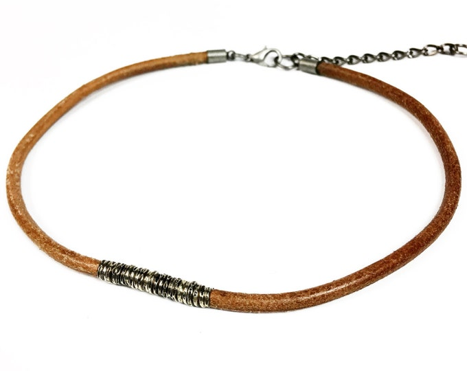 Brown Leather Cord Choker with Antiqued Coil Charm - Silver Coil Leather Choker - 90s Fashion - Retro - Trendy - Sterling Silver Choker