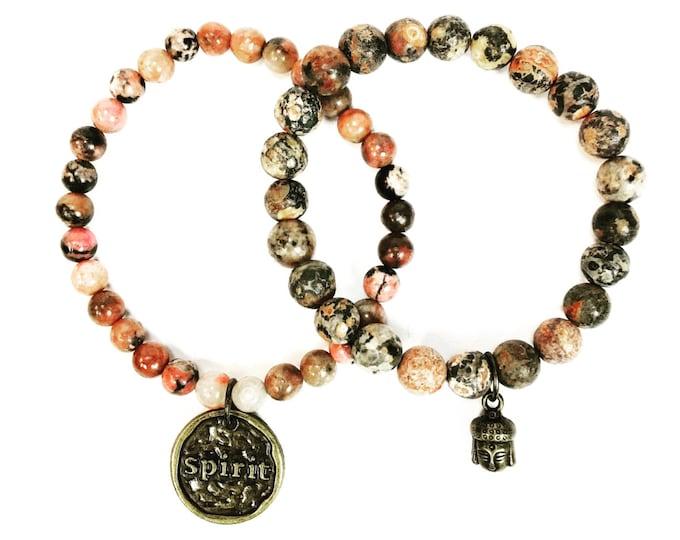 Stackable Rhodonite Gemstone Bracelets - Buddha Charm Bracelet - Hippie Jewelry - Beaded Bracelets - Boho Jewelry - Natural Gemstones