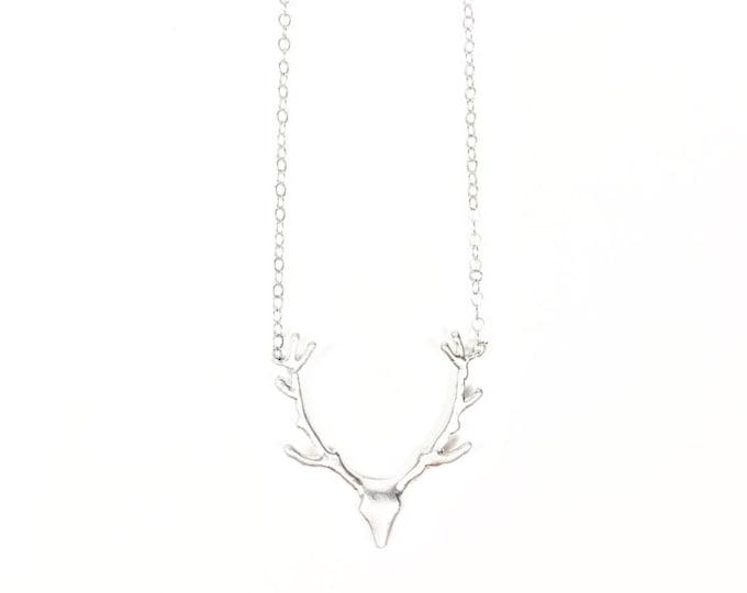 Silver Deer Charm Necklace - Antler Charm Necklace - Minimalist Necklace - Hippie Jewelry - Boho Jewelry - Trendy Jewelry