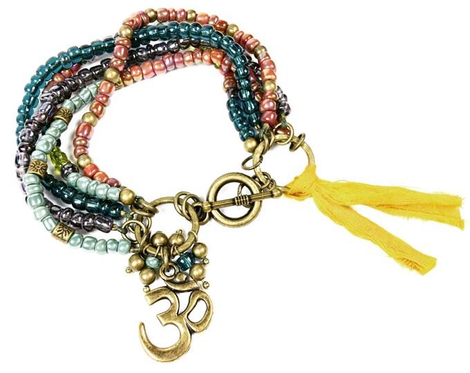 Beaded Czech Bracelet - Bronzs Om Charm Bracelet - Beaded Jewelry - Hippie Bracelet - Boho Jewelry - Czech Beads - Charm Bracelet