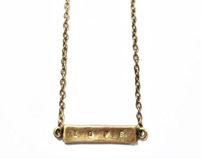 "Vintage Bronze Bar ""Love"" Necklace"