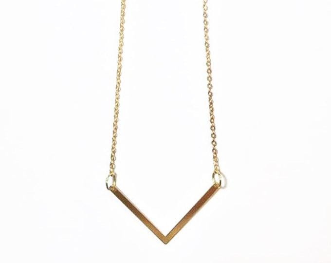 Gold Minimalist Necklace - Gold Chevron Necklace - Minimalist Jewelry - Petite Jewelry - Geometric Charm Jewelry