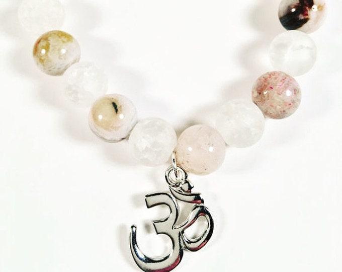 Om Charm Gemstone Bracelet - Stackable Stretchy Bracelet - Beaded Bracelet - Hippie Jewelry - Gemstone Jewelry - Boho Jewelry
