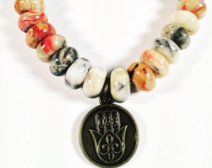 Hamsa Charm Gemstone Bracelet - Hippie Bracelet - Stretchy Stackable Bracelet - Boho Bracelet - Trendy Bold Summer Jewelry