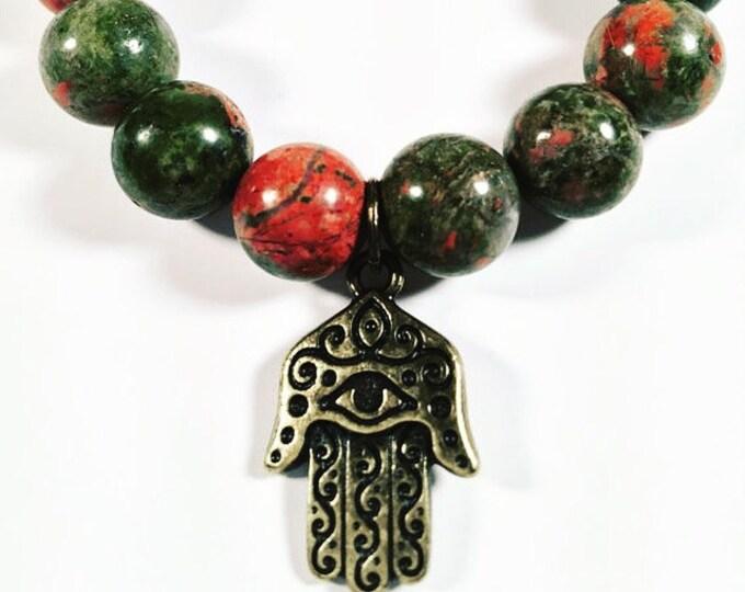 Hamsa Charm Gemstone Bracelet - Unakite Gemstone Bracelet