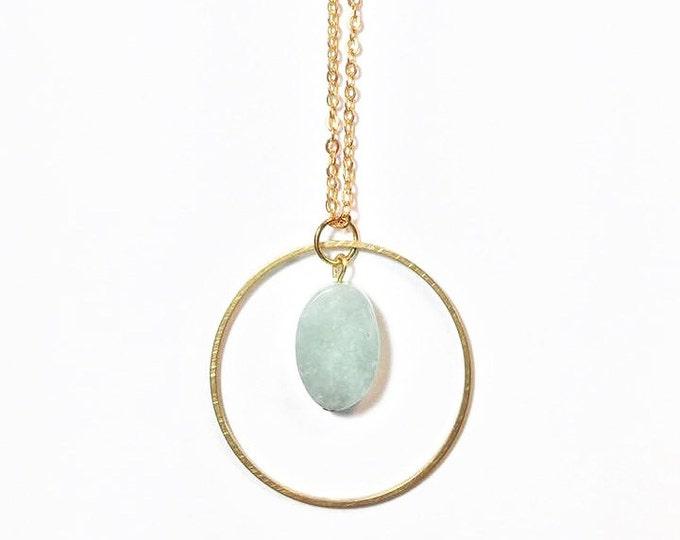 Gold Gemstone Boho Necklace - Trendy Necklace - Gemstone Necklace - Gemstone Jewelry - Aventurine - Circle Charm Necklace