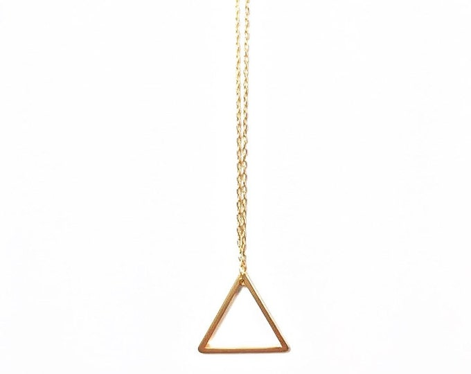 Gold Minimalist Necklace - Gold Geometric Charm Necklace - Triangle Charm Necklace -