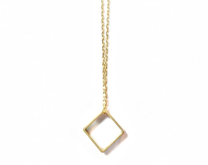 Good Minimalist Necklace - Gold Square Charm Necklace - Geometric Charm Necklace - Modern Jewelry - Petite Necklace - Small Charm Necklace