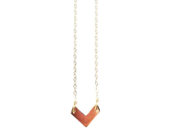 Gold Minimalist Necklace - Gold Chevron Charm Necklace - Petite Necklace - Geometric Charm Necklace - Trendy Jewelry