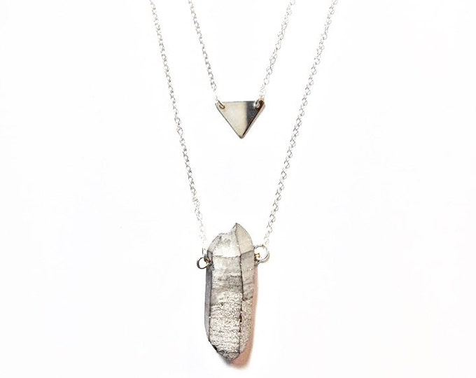 Silver Layered Crystal Necklace - Triangle Charm Necklace - Minimalist Necklace - Trendy Jewelry - Crystal Healing Necklace