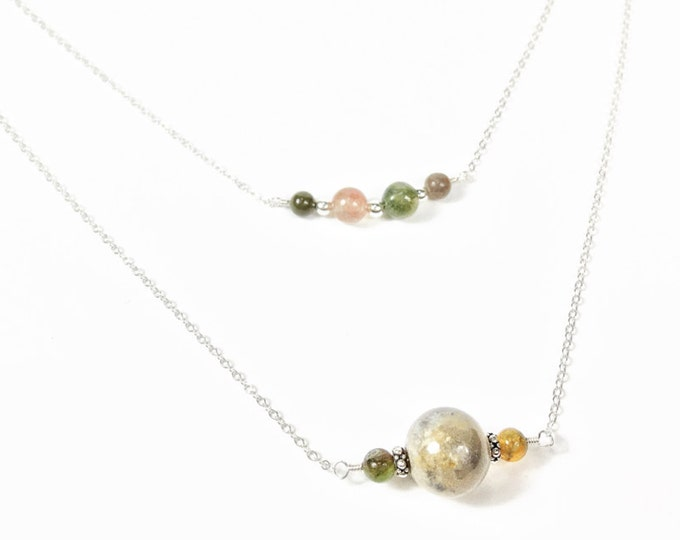Sterling Silver Gemstone Necklace - Fancy Jasper Gemstone Necklace - Double Chain Necklace - Multi Chain Necklace - Minimalist Jewelry