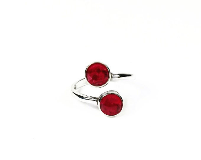 Sterling Silver Adjustable Bypass Ring - Ruby Gemstone Ring